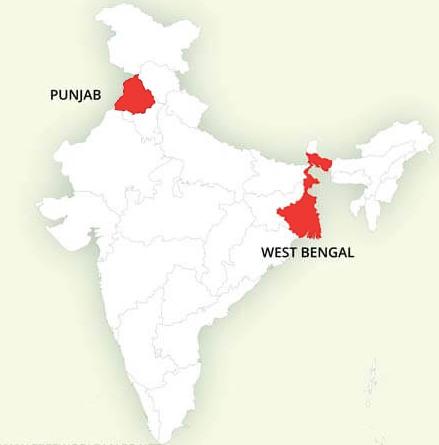 Punjab / West Bengal Landkaart